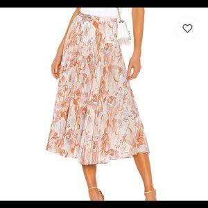 Vince NWT Marine Garden Pleated Midi Skirt.